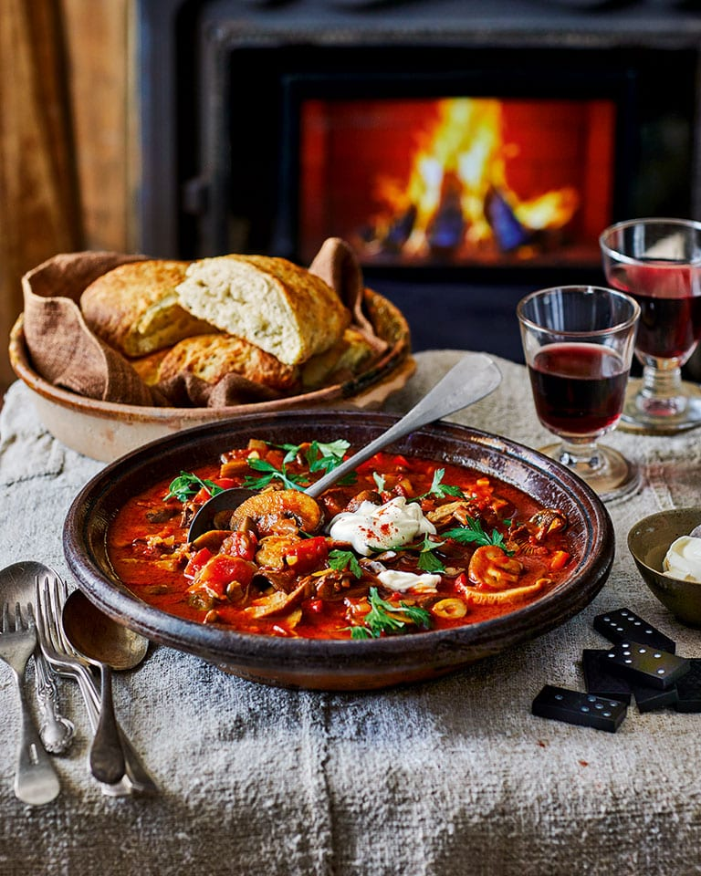 Hungarian mushroom stew with cheese and rosemary scones