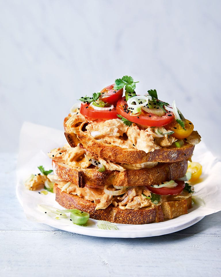 Coronation chicken on toast
