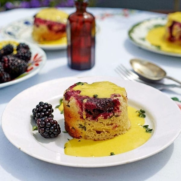 Blackberry and thyme steamed pudding
