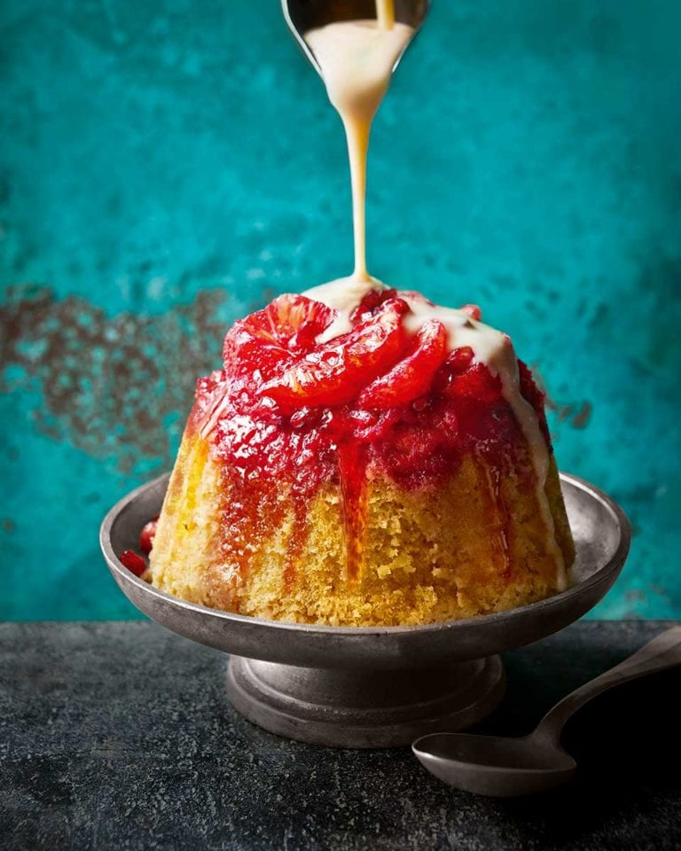 Blood orange and Campari steamed pudding
