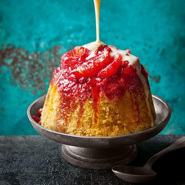 Blood orange sponge pudding