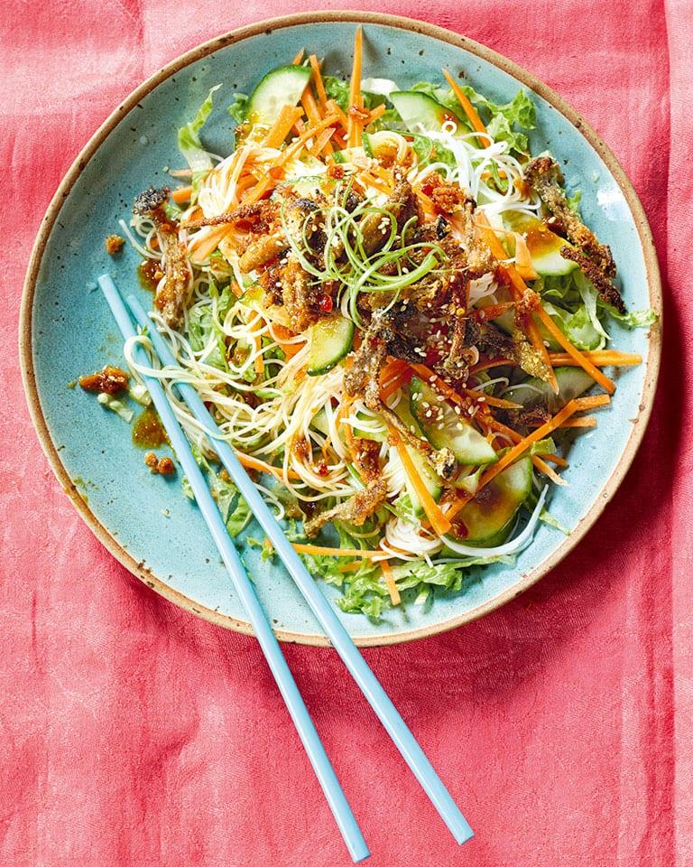 Hunan-style crispy mushroom noodle salad