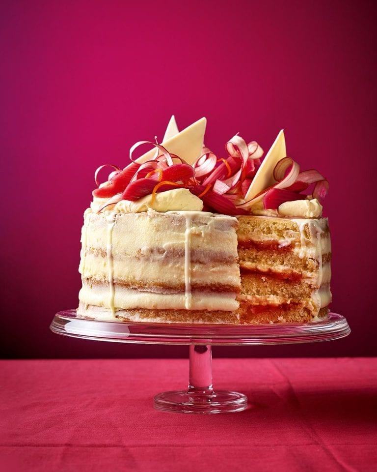 Rhubarb and custard layer cake
