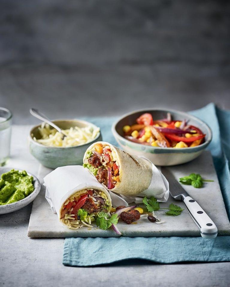 Sausage burritos with pea and avocado guacamole