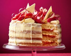 Our rhubarb and custard layer cake is the perfect Easter bake