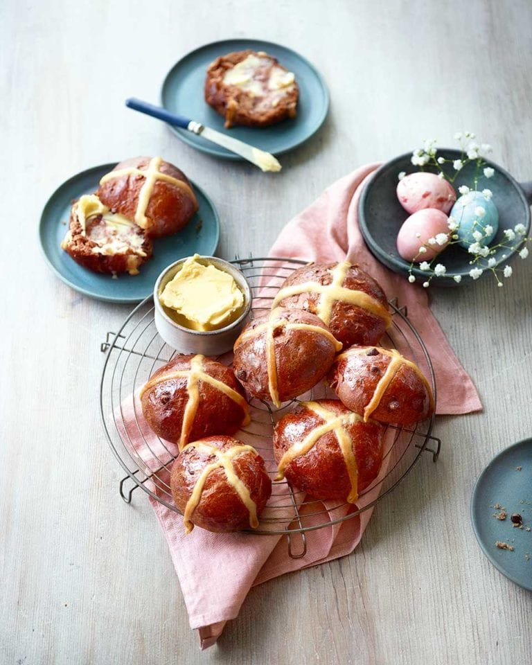 Chocolate and peanut butter hot cross buns