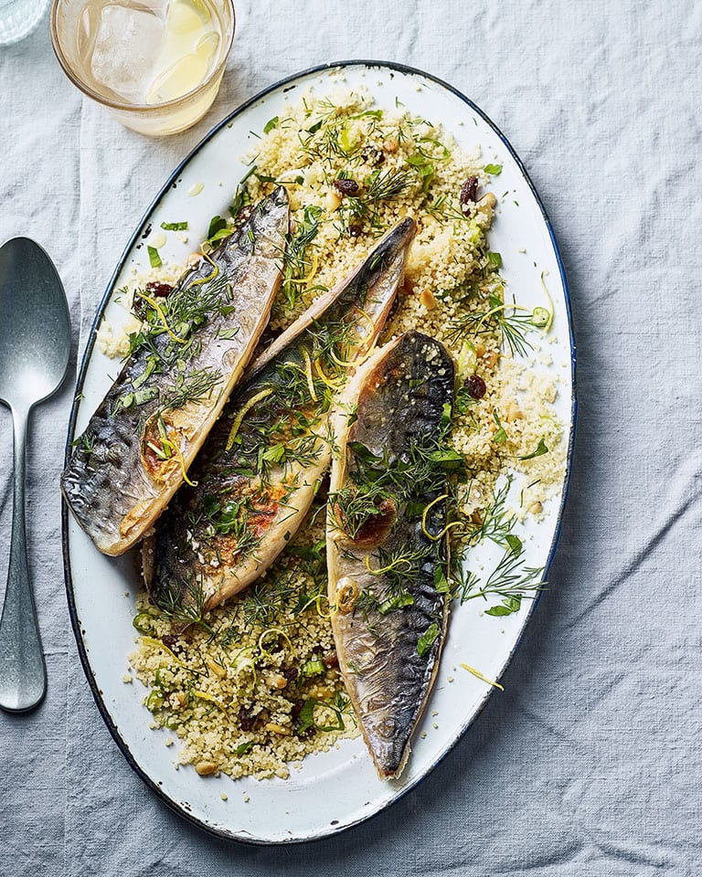 Grilled mackerel with raisin and herb couscous