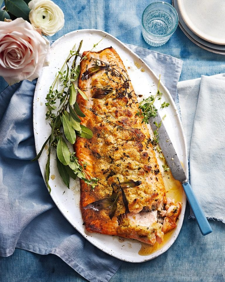 Roast salmon with craquelin pastry topping