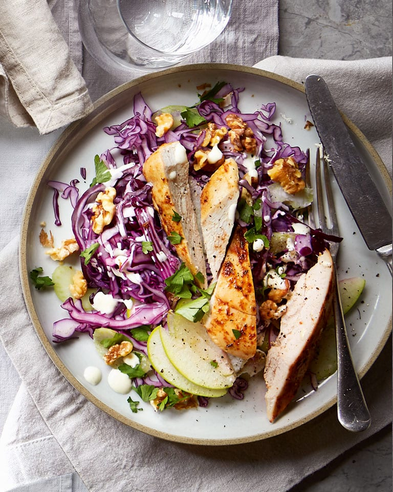 Roast chicken with red cabbage waldorf
