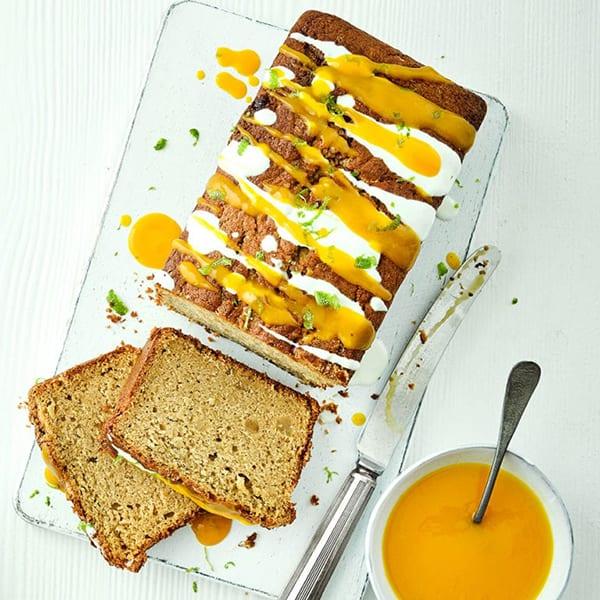 Mango lime ginger loaf cake