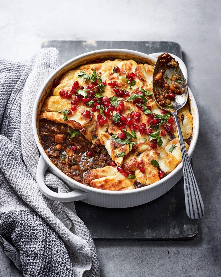 Halloumi-topped lentil stew