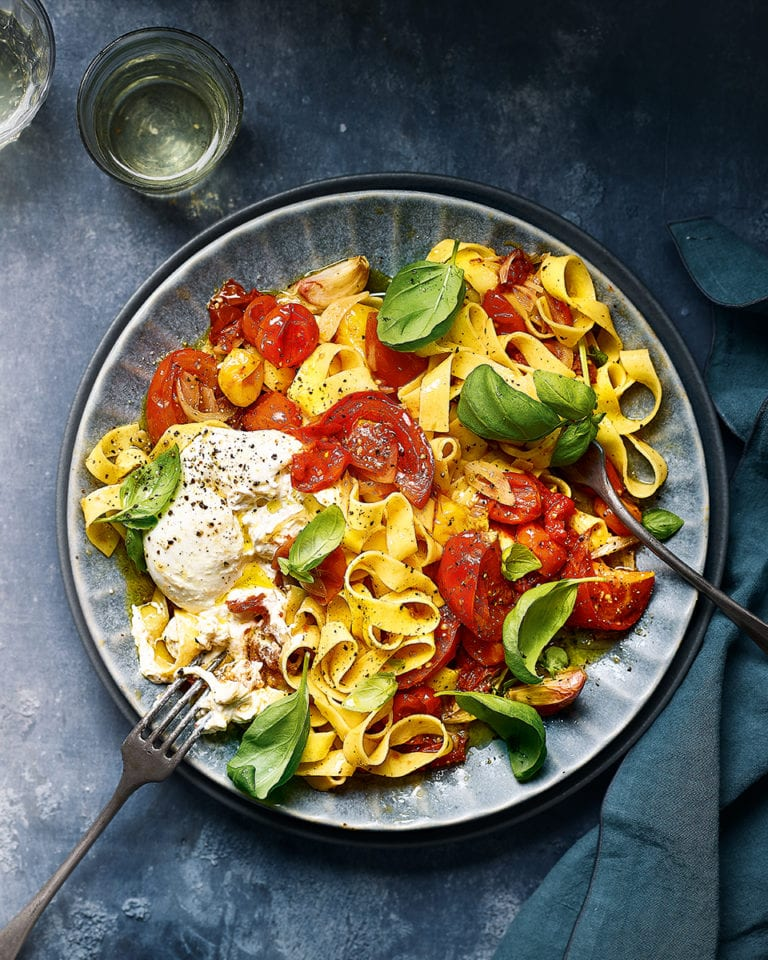 Tomato and burrata tagliatelle