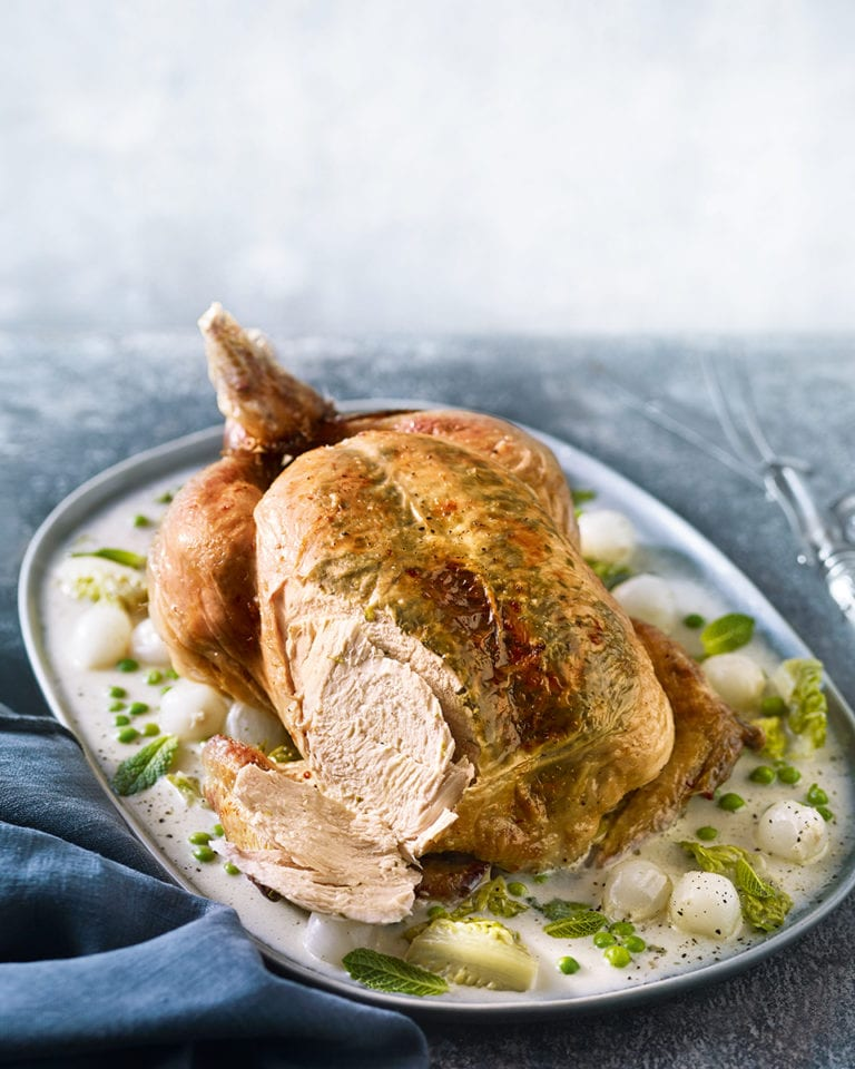 Wild garlic, tarragon and mint roast chicken with lettuce and peas