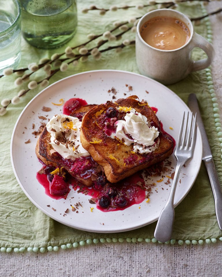 Brioche French toast with berry compote