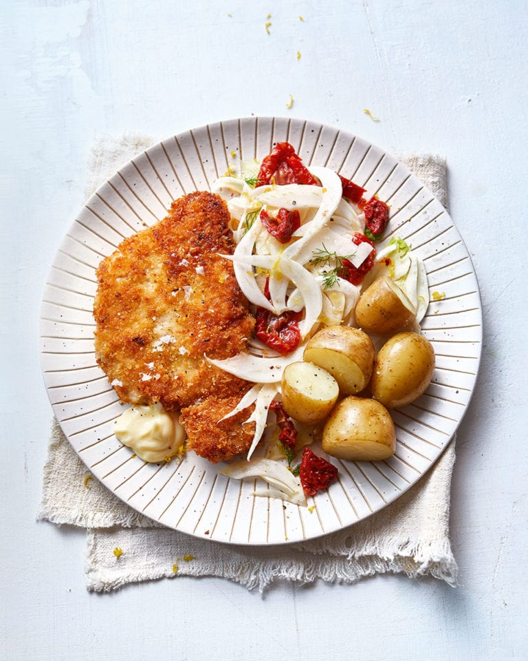 Pork schnitzel with new potatoes and fennel salad