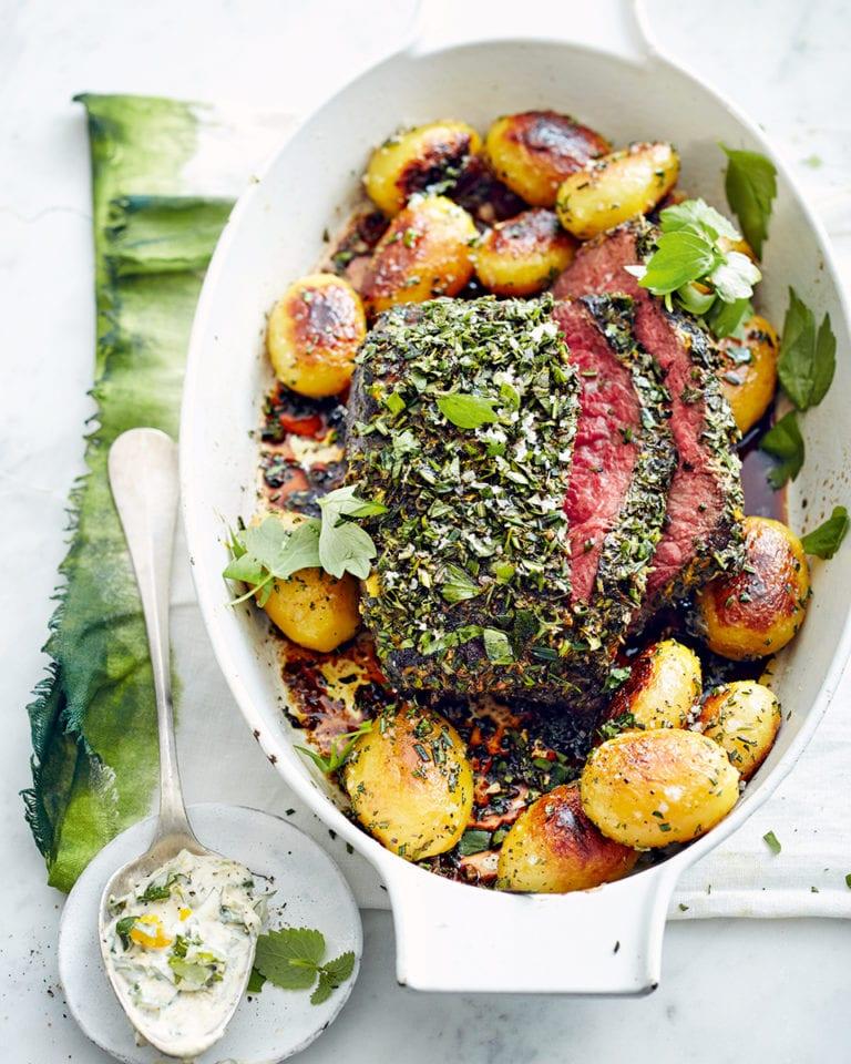Herby dijon roast beef with rosemary potatoes