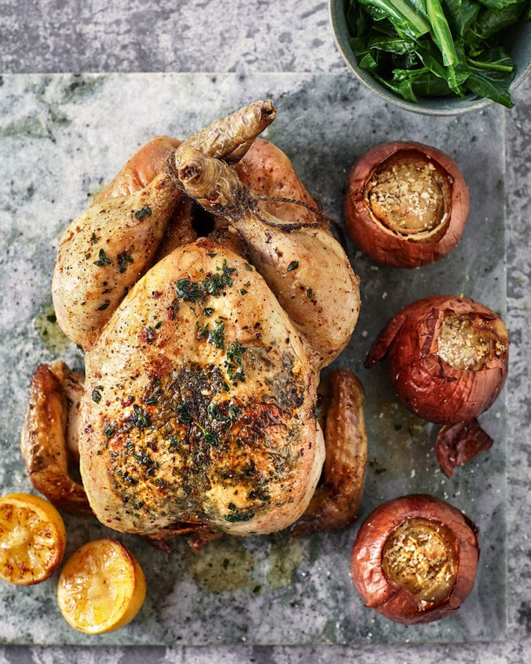 Lemon thyme roast chicken and bread sauce stuffed onions