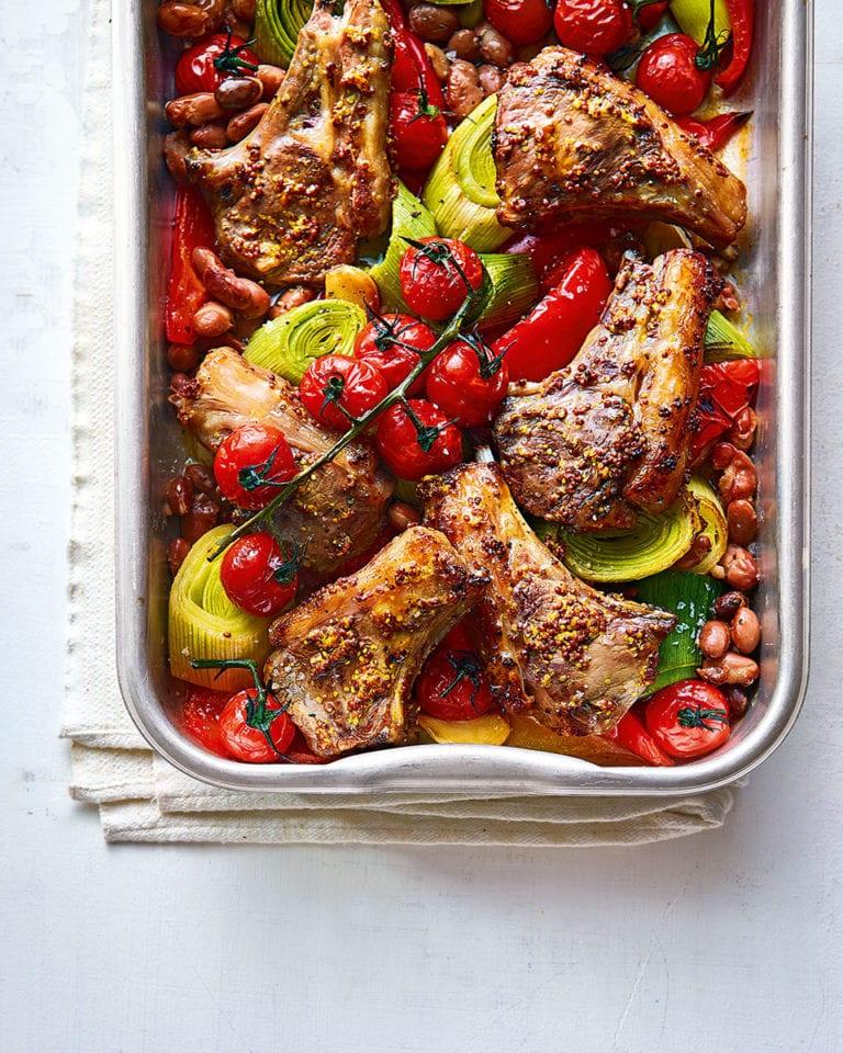 Lamb tray roast with mustard, leek and tomatoes