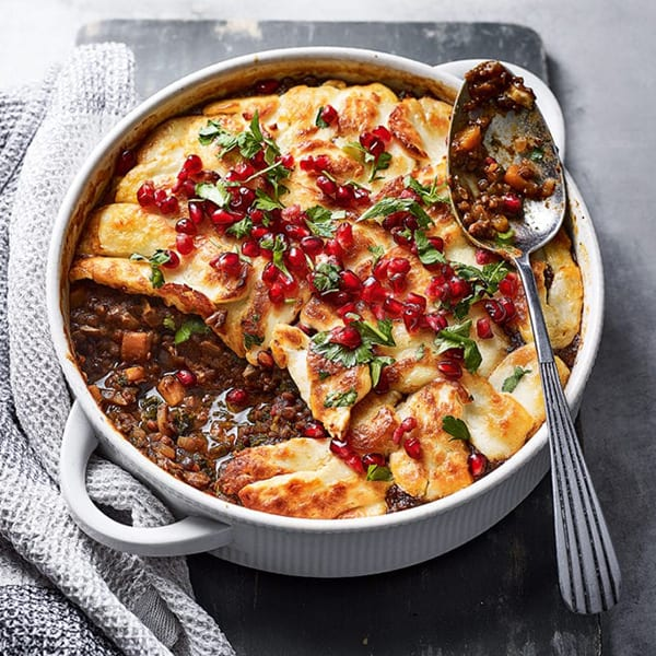 Halloumi topped lentil stew