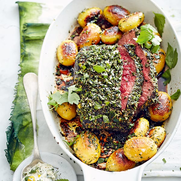 Herby roast beef