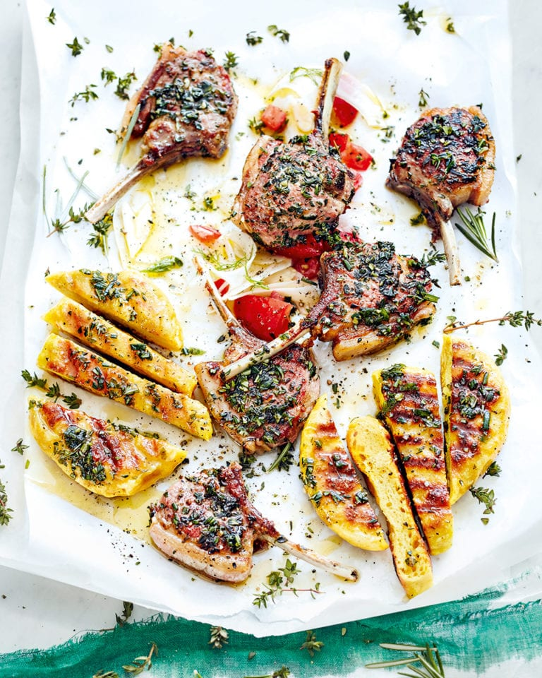 Lamb chops with griddled breads and fennel salad