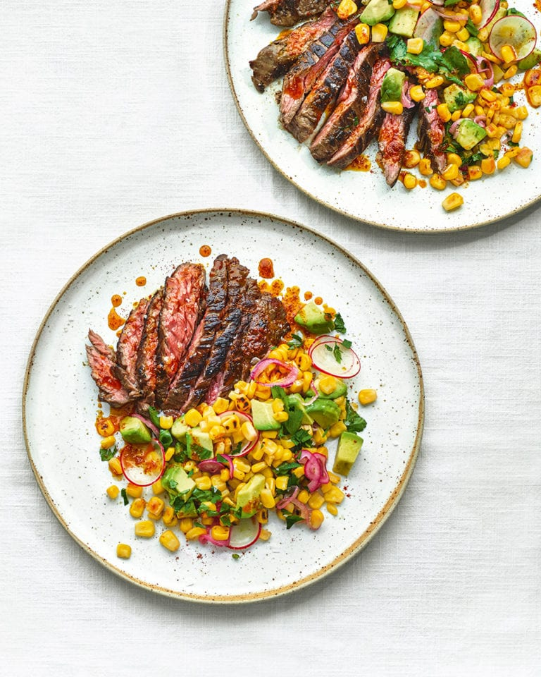 Steak with charred corn salsa and smoky butter