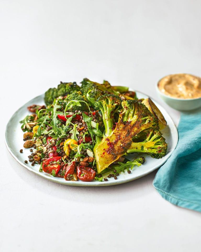 Charred broccoli steaks with lentil salad and harissa yogurt