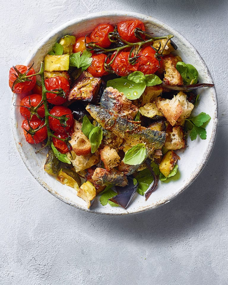 Mediterranean vegetable and sardine salad