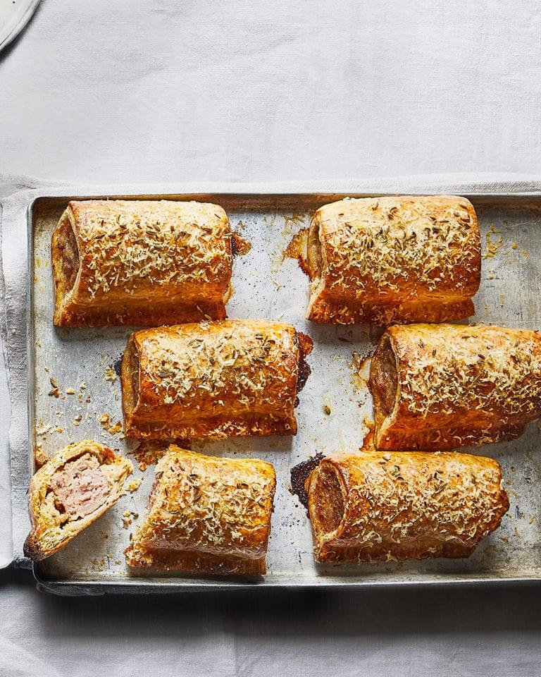 Parmesan and pork sausage rolls