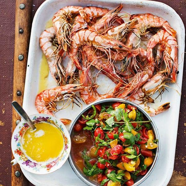 Griddled prawns with garlic butter
