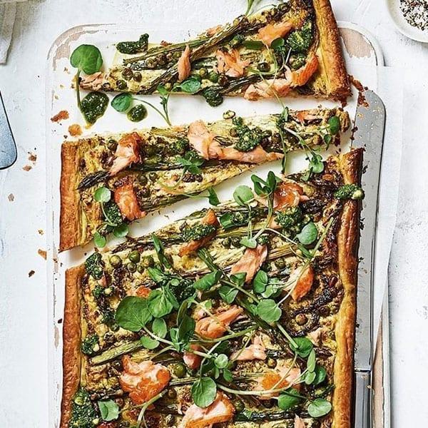 Hot-smoked salmon and asparagus tart