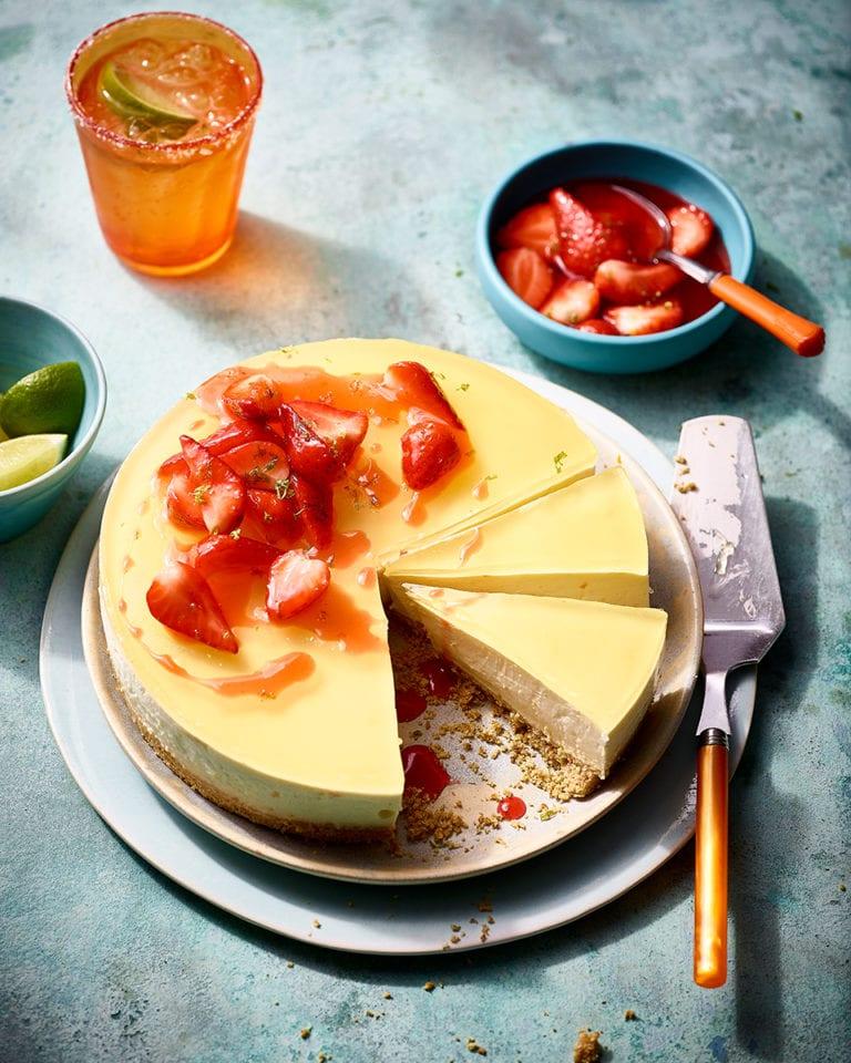Margarita cheesecake with tequila strawberries