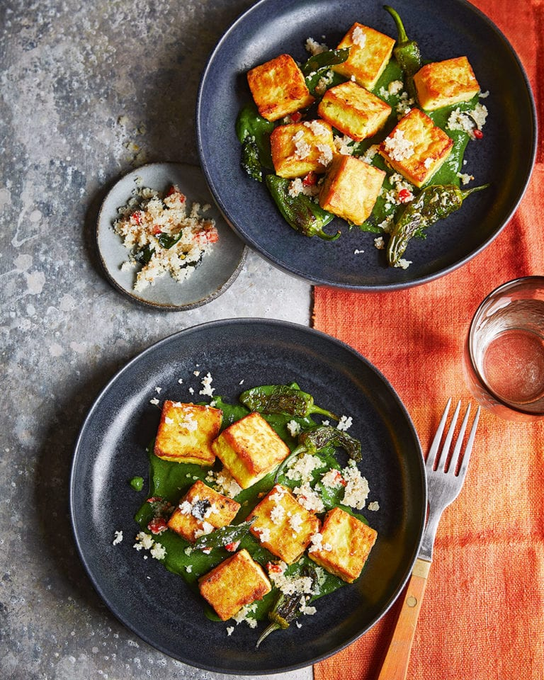 Chickpea gnocchi with padrón peppers and spinach coconut sauce