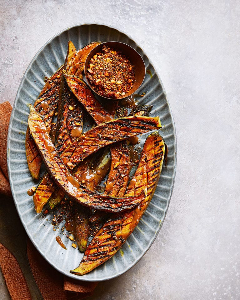 Grilled aubergine with peanut and spice crust