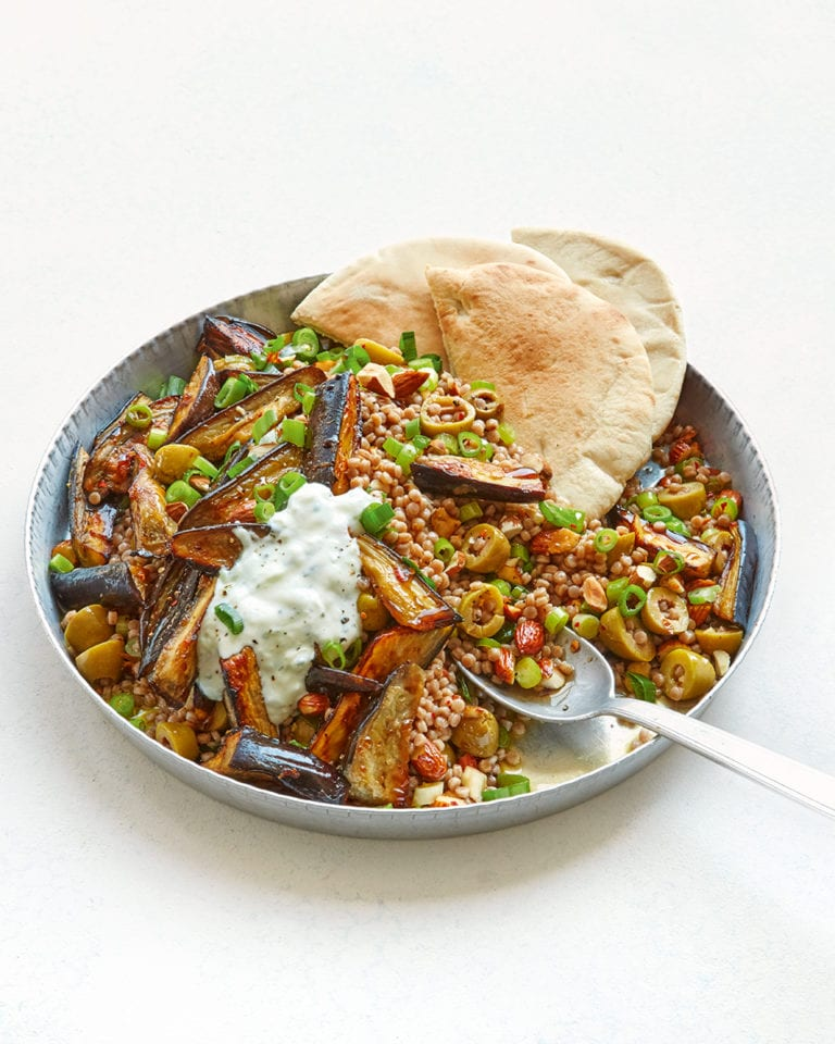 Roast aubergines with giant couscous and tzatziki