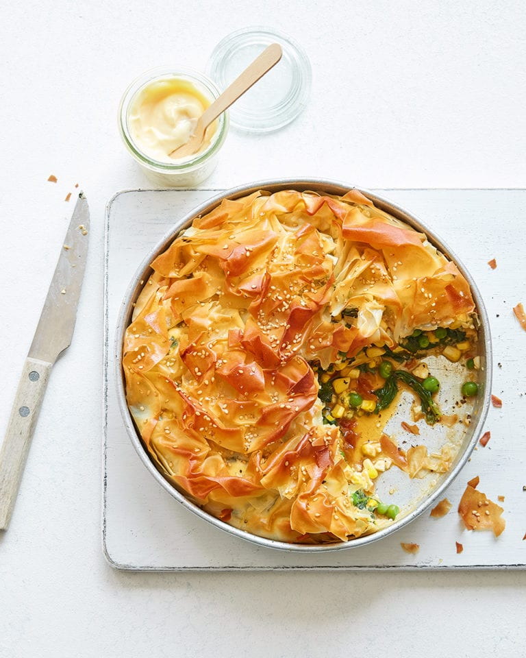 Feta, spinach, pea and sweetcorn pie
