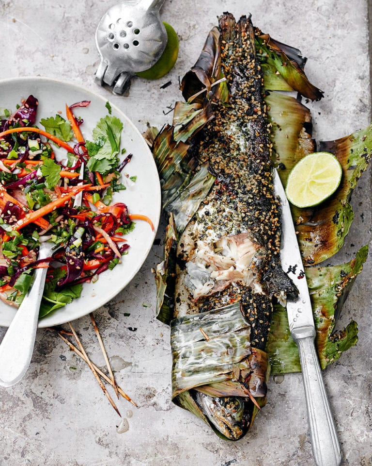 Trout grilled in banana leaf with Asian-style slaw