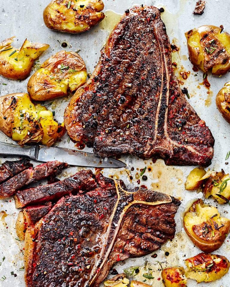 T-bone steak with coffee rub and rosemary potatoes
