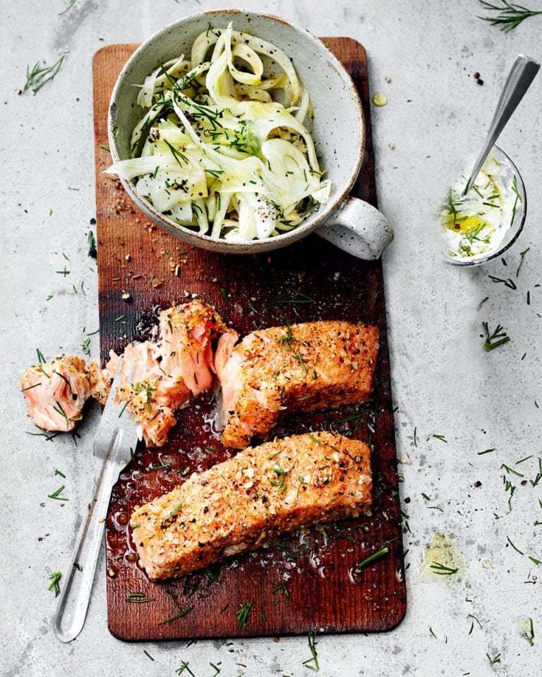 Salmon with lemon and ginger rub and fennel salad