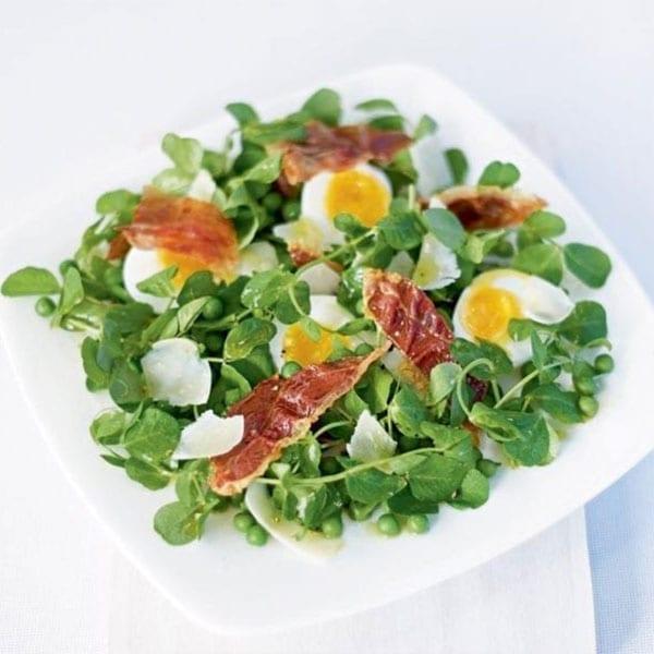 pea shoot and egg salad