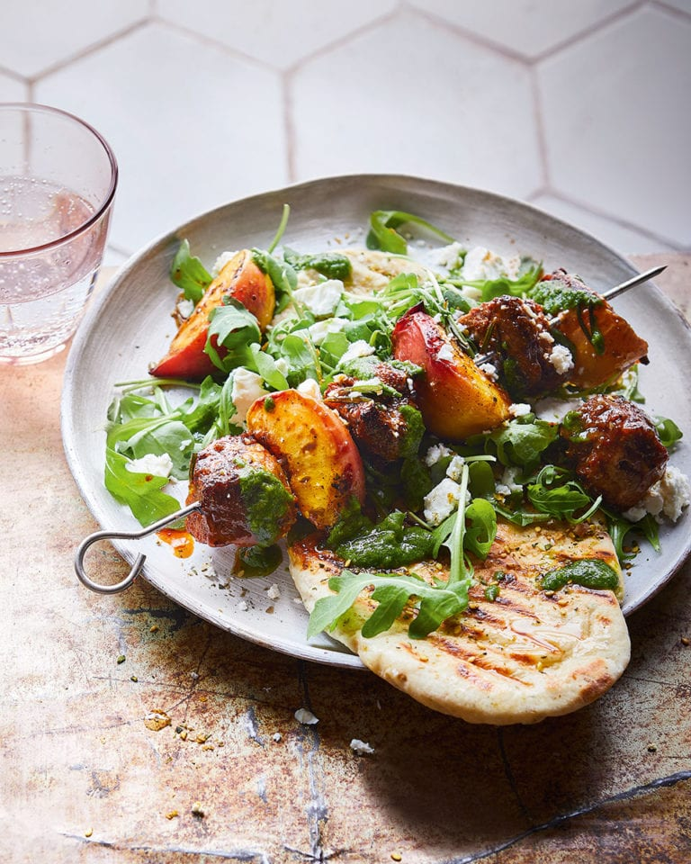 Lamb and peach skewers with za'atar flatbreads and herby sauce
