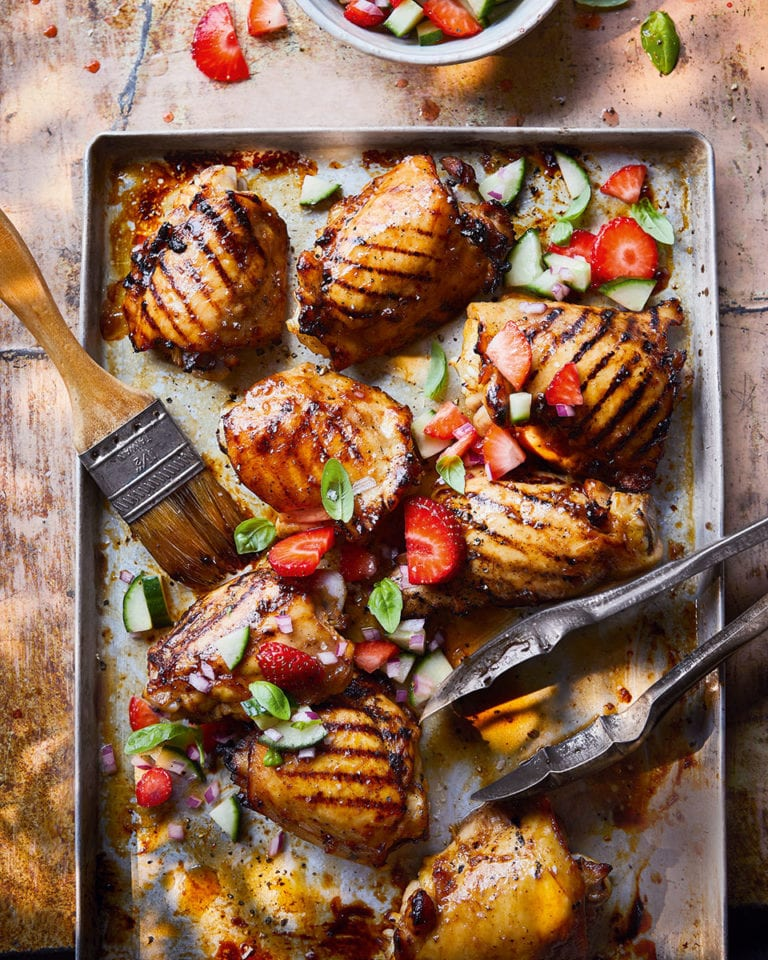 Pimm's glazed chicken with strawberry and cucumber salad