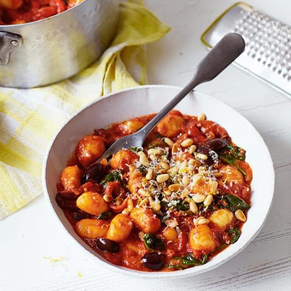Tomato and black olive gnocchi