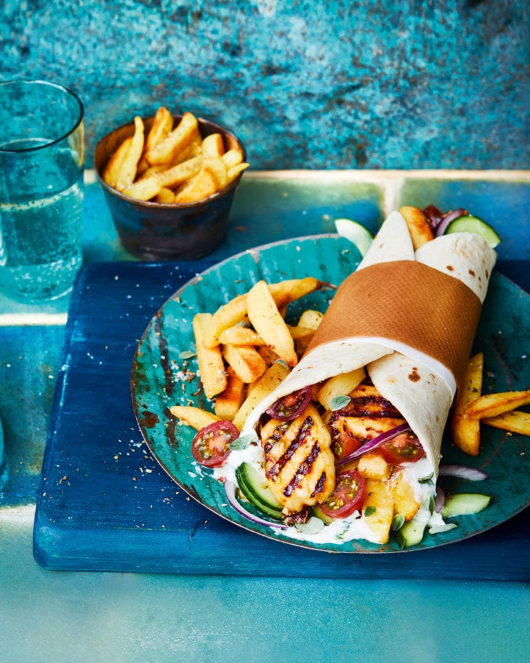 Halloumi gyros with herby chips