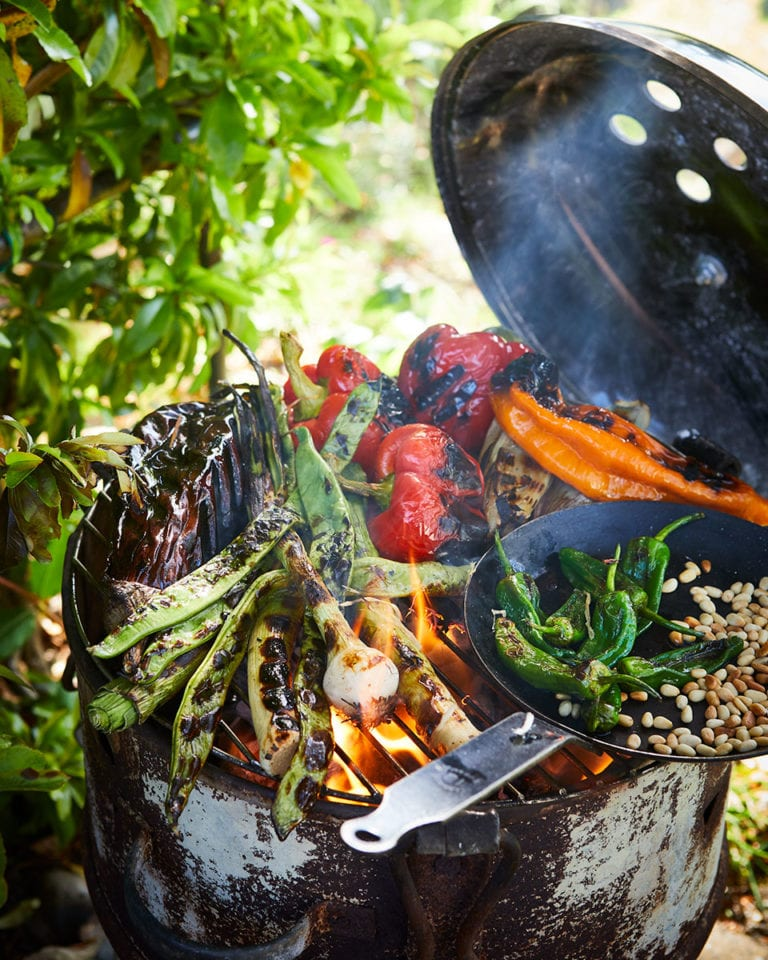Barbecued vegetables with tahini dressing