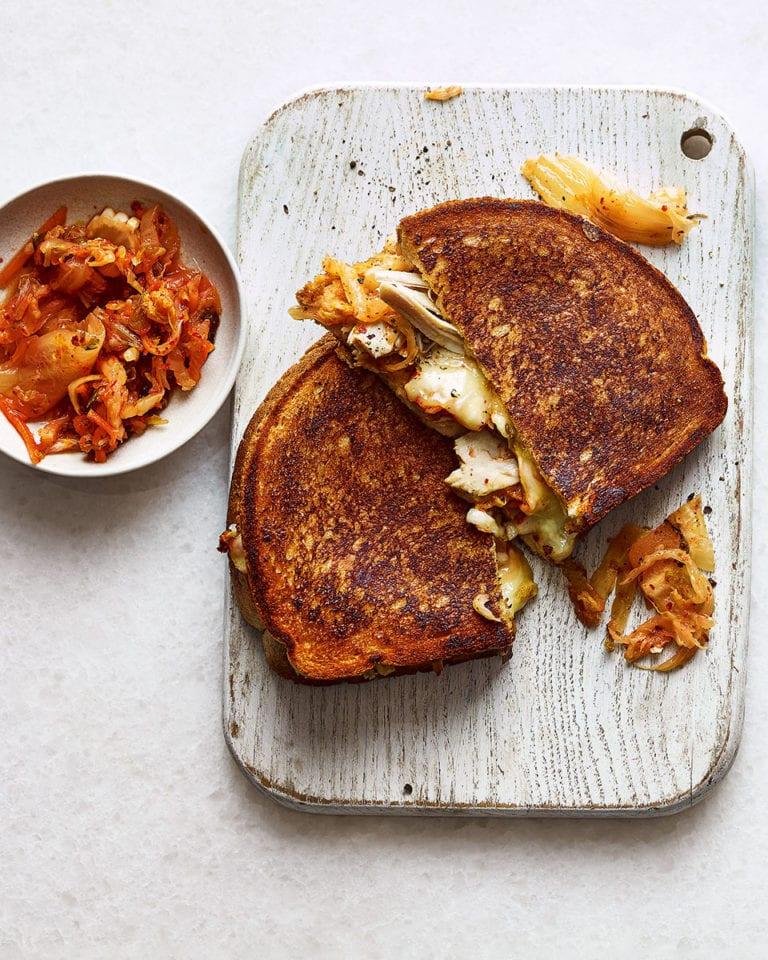 Roast chicken, cheese and kimchi toastie