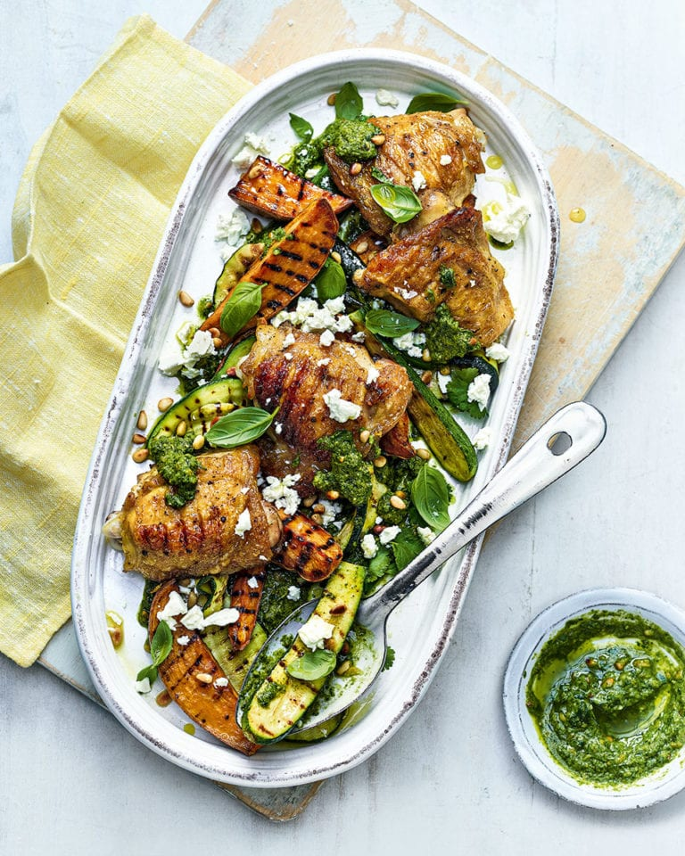 Grilled chicken thighs with sweet potato wedges, courgettes and feta