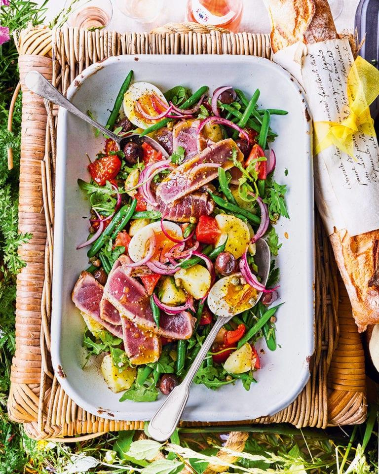 Seared tuna steaks and nicoise salad