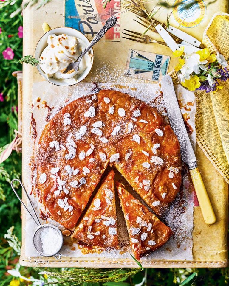 Upside-down apricot cake with amaretto mascarpone cream