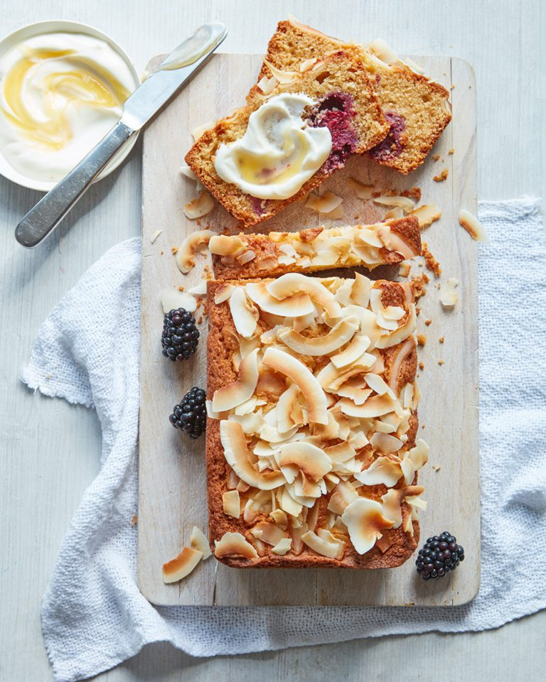 Blackberry and coconut loaf cake